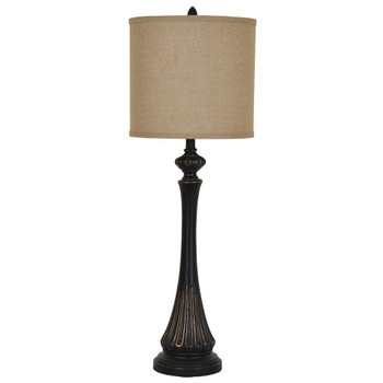 Berwick Resin Table Lamp with Burlap Shade