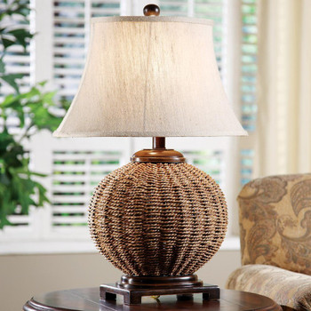 Latham Wicker Table Lamp with Oval Textured Linen Shade