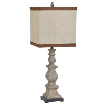 Burgess Table Lamp with Natural Linen Shade & Brown Microfiber Trim