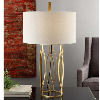 Global Metal Table Lamp with Linen Shade