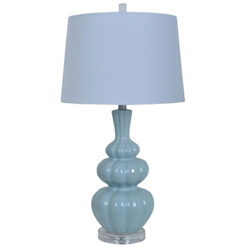 Strata Ceramic and Crystal Table Lamp with White Linen Shade