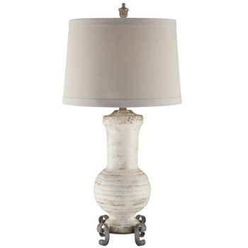Andrea Ceramic and Metal Table Lamp with Natural Linen Shade