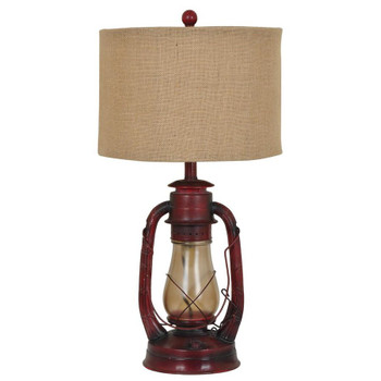 Lauren Metal and Glass Lantern Table Lamp with Burlap Shade