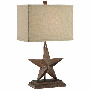 Star Resin Table Lamp with Tan Linen Shade