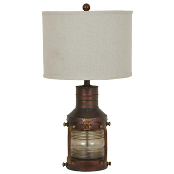 Copper Resin and Glass Lantern Table Lamp with Natural Linen Shade