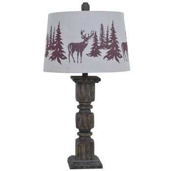 Hunt Deer and Trees Resin Table Lamp with Fabric Shade