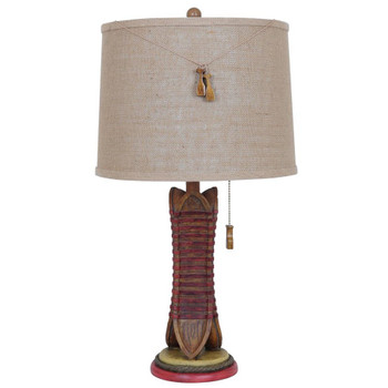 Canoe Resin Table Lamp with Burlap Shade