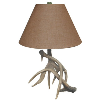 Trophy Antler Resin Table Lamp with Burlap Shade