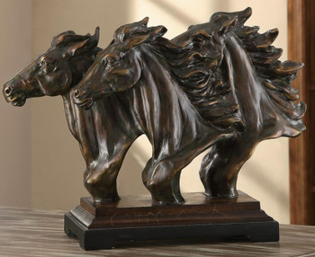 Running Free Triple Horse Head Statue
