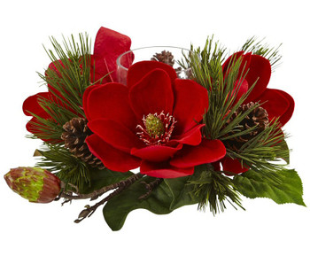 Red Magnolia and Pine Candelabrum