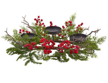 Berry and Pine Triple Candelabrum