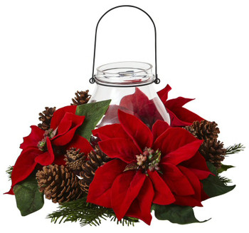 Poinsettia Pine and Pine Cone Candelabrum
