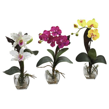 Beauty White Yellow Orchid Silk Flower Arrangement with Cube, Set of 3