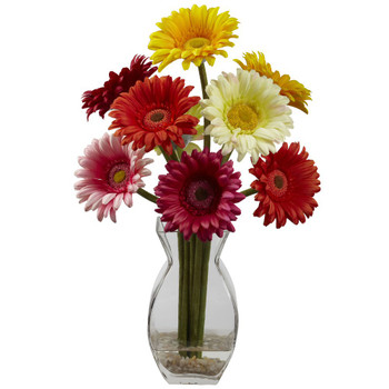 Assorted Colors Gerber Daisy Silk Flower Arrangement with Vase