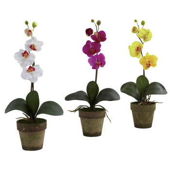 Potted Phalaenopsis Silk Flower Arrangement, Set of 3