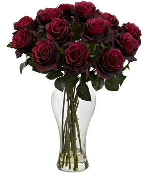 Blooming Burgundy Roses Silk Flower Arrangement with Vase