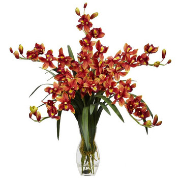 Cymbidium Orchid Silk Flower Arrangement - Burgundy