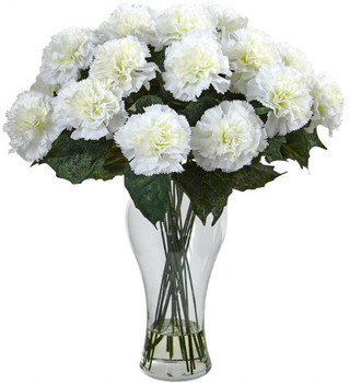 Blooming Cream Color Carnation Silk Flower Arrangement with Vase