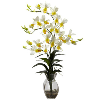 Dendrobium Cream Orchid Silk Flower Arrangement with Vase