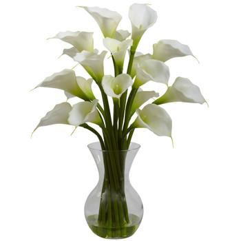 Cream Galla Calla Lily Silk Flower Arrangement with Vase
