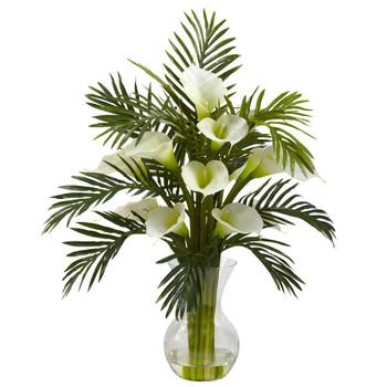Cream Calla Lily & Palm Silk Flower Arrangement Combo