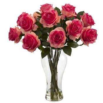 Blooming Dark Pink Roses Silk Flower Arrangement with Vase