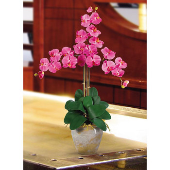 Triple Stem Phalaenopsis Silk Orchids - Dark Pink