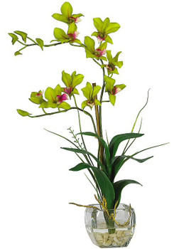 Dendrobium with Glass Vase Silk Flower Arrangement - Green