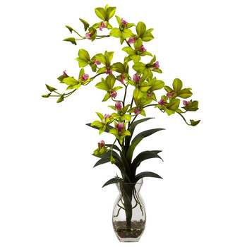 Dendrobium Green Orchid Silk Flower Arrangement with Vase