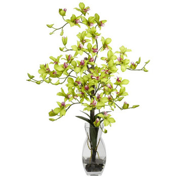 Dendrobium with Vase Silk Flower Arrangement - Green