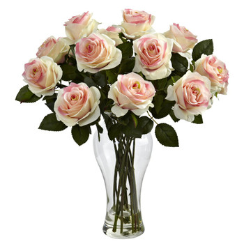 Blooming Light Pink Roses Silk Flower Arrangement with Vase