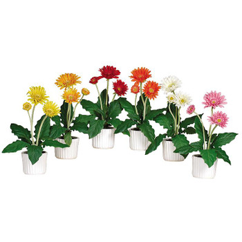 Silk Gerber Daisy with White Vase, Set of 6
