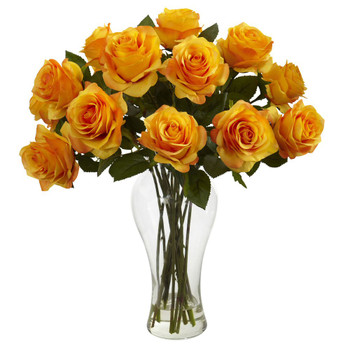 Blooming Orange Yellow Roses Silk Flower Arrangement with Vase