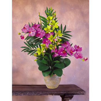 Double Phal / Dendrobium Silk Orchids - Orchid Green
