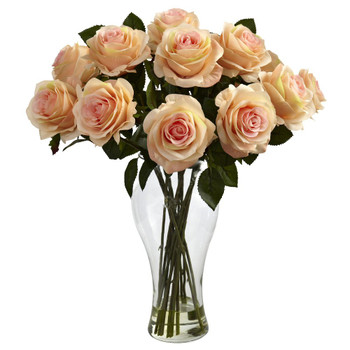 Blooming Peach Roses Silk Flower Arrangement with Vase