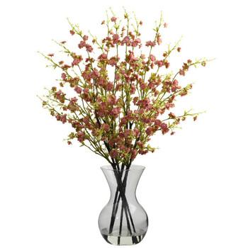 Pink Cherry Blossoms with Vase Silk Flower Arrangement