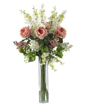 Rose, Delphinium and Lilac Silk Flower Arrangement - Pink