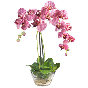 Phalaenopsis Silk Arrangement with Vase - Purple