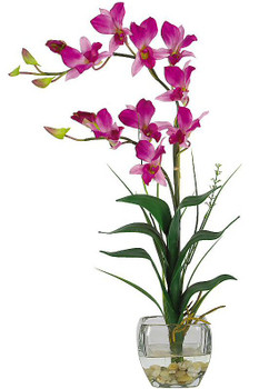 Dendrobium with Glass Vase Silk Flower Arrangement - Purple