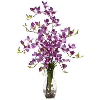 Dendrobium with Vase Silk Flower Arrangement - Purple