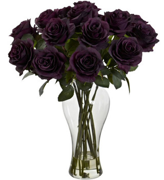 Blooming Purple Elegance Roses Silk Flower Arrangement with Vase