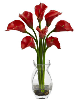 Classic Red Calla Lily Silk Flower Arrangement