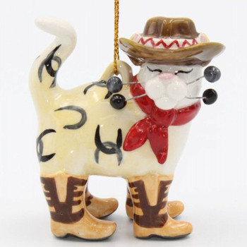 Cowboy Cat w/Horseshoes & Cowboy Boots Christmas Tree Ornaments, Set/4