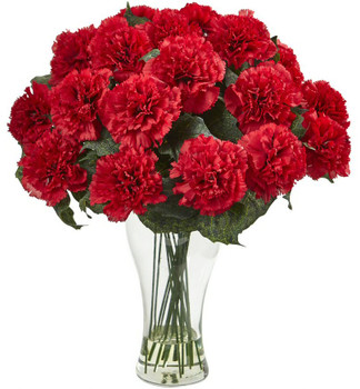 Blooming Red Carnation Silk Flower Arrangement with Vase