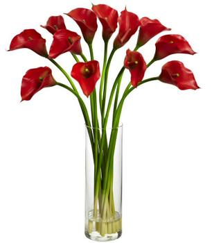 Mini Red Calla Lily Silk Flower Arrangement