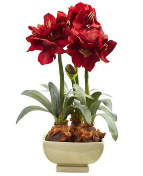 Red Amaryllis Silk Flower Arrangement with Vase