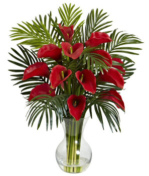 Red Calla Lily and Areca Palm Silk Flower Arrangement