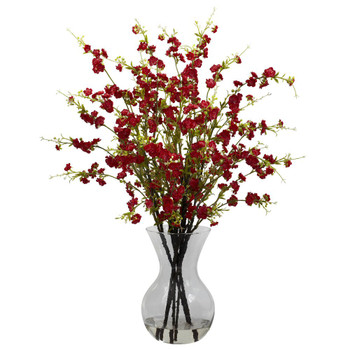 Red Cherry Blossoms with Vase Silk Flower Arrangement