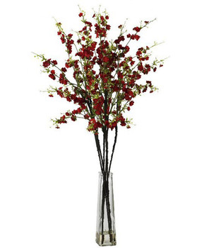 Cherry Blossoms with Vase Silk Flower Arrangement - Red