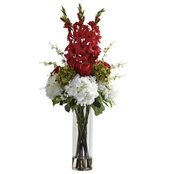 Giant Red Mixed Silk Flower Arrangement
